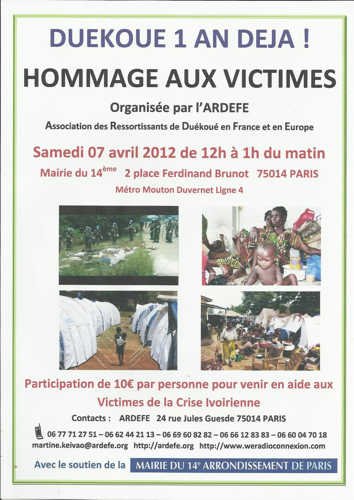 Samedi 7 Avril de 12h à 1h du matin : journée hommage aux victimes Wê de la crise ivoirienne en général et à Duékoué en particulier